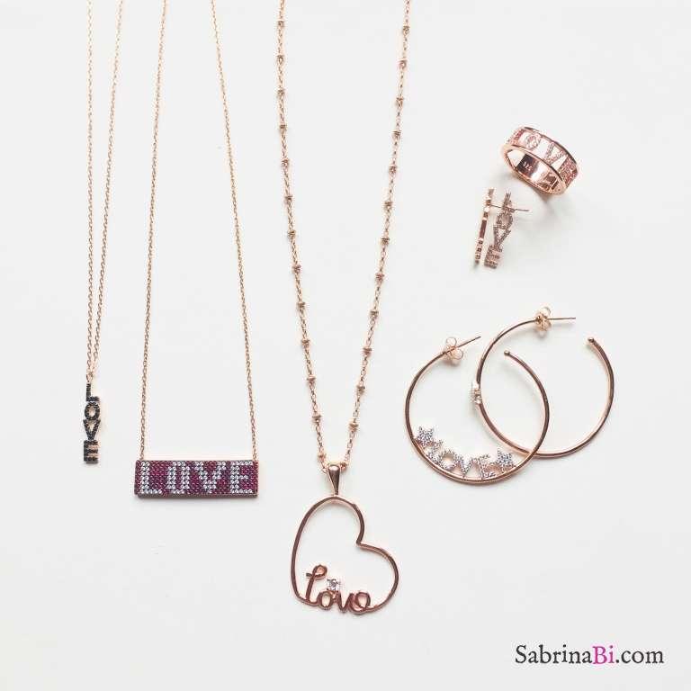 Collana argento 925 oro rosa piastrina scritta LOVE brillanti rossi