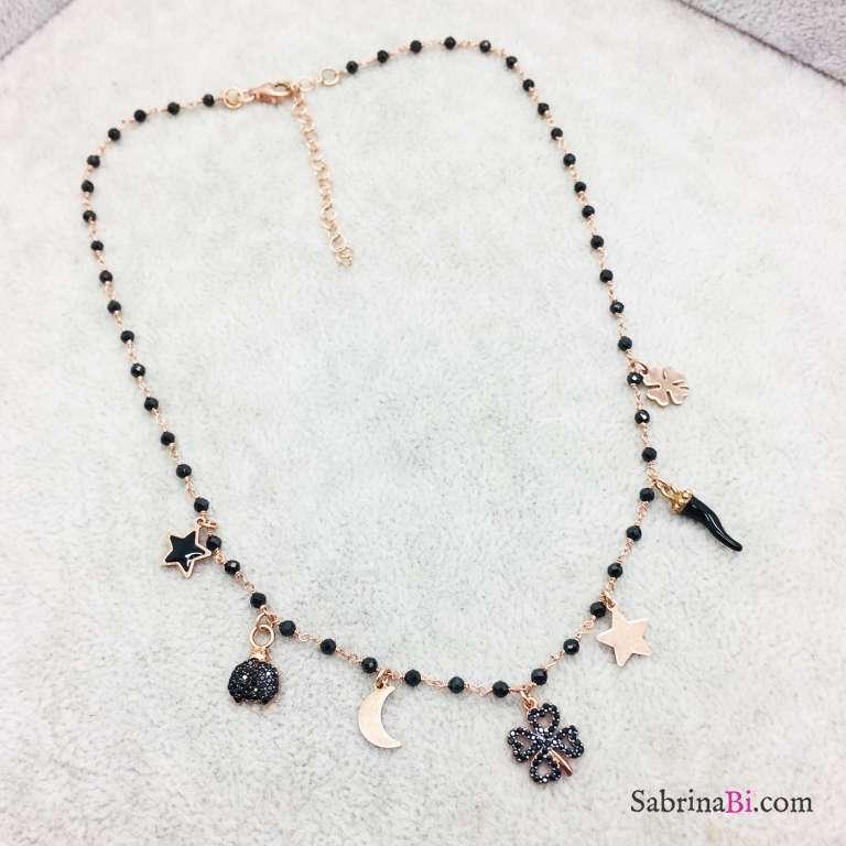 Collana argento 925 oro rosa Prospera