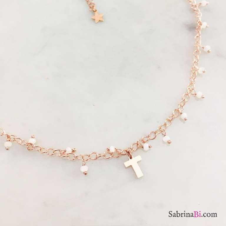 Collana argento 925 oro rosa rosario con Pietra di luna e lettera