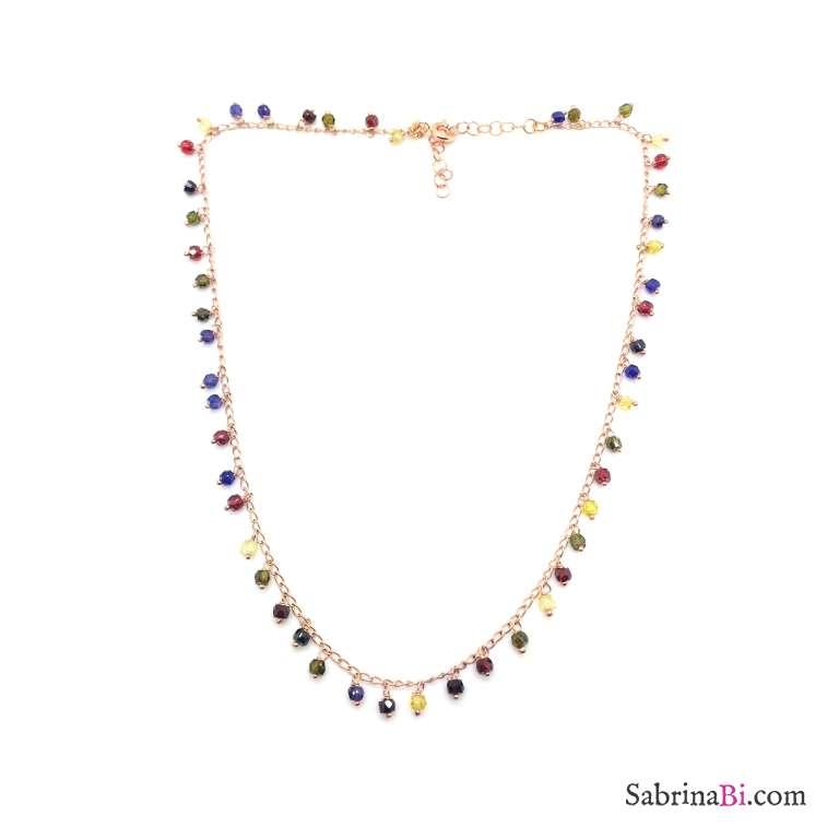 Collana argento 925 oro rosa rosario con pietre pendenti multicolor