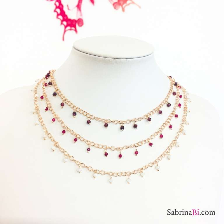Collana argento 925 oro rosa rosario con pietre pendenti Rodolite viola