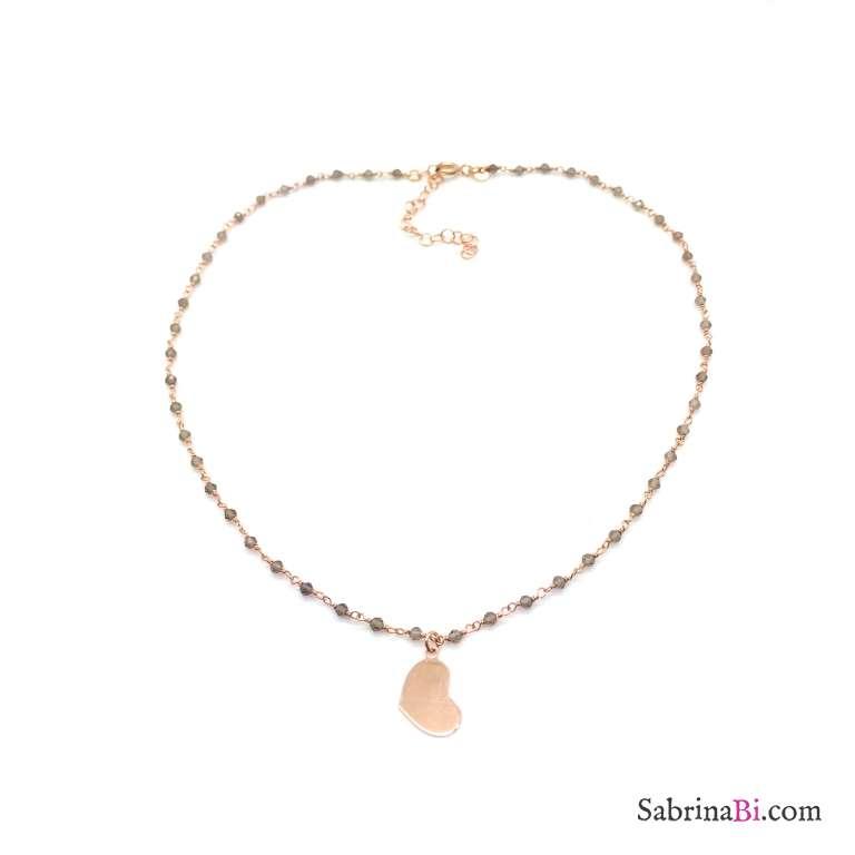 Collana argento 925 oro rosa rosario Olivina e Cuore