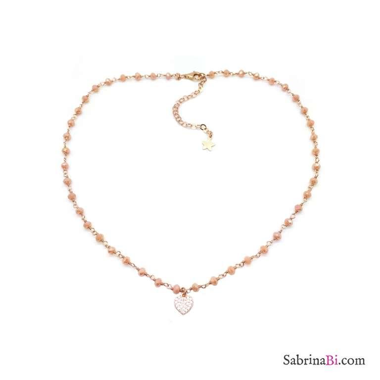 Collana argento 925 oro rosa rosario Opale rosa Cuore piccolo Zirconi