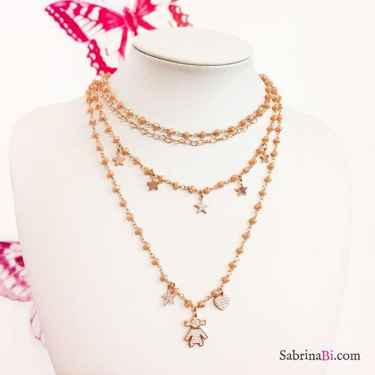 Collana argento 925 oro rosa rosario Opale rosa Stelle