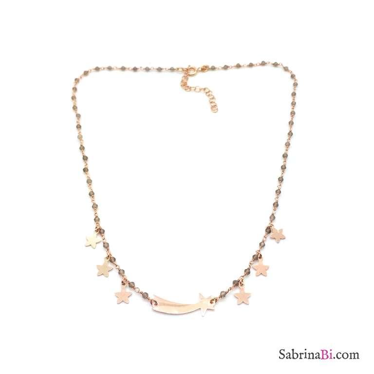 Collana argento 925 oro rosa rosario Opale verde e stella cometa