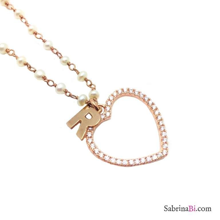 Collana argento 925 oro rosa rosario perle cuore Zirconi e lettera iniziale nome