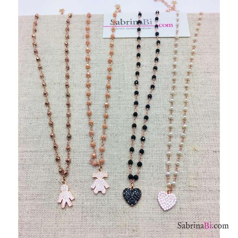 Collana argento 925 oro rosa rosario perle Cuore Zirconi