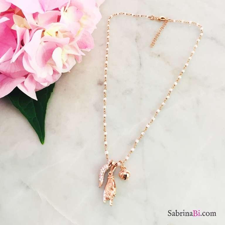 Collana argento 925 oro rosa rosario Pietra di luna Lucky charms