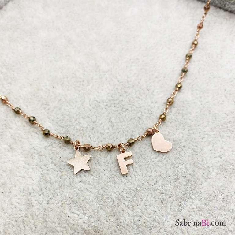 Collana argento 925 oro rosa rosario Pirite lettera e charms