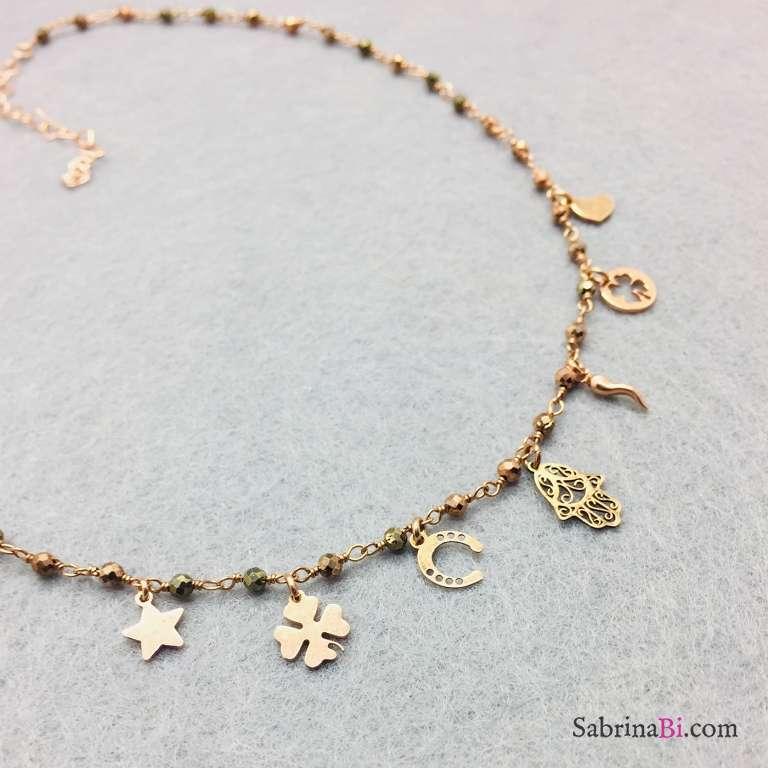 Collana argento 925 oro rosa rosario Pirite Lucky charms