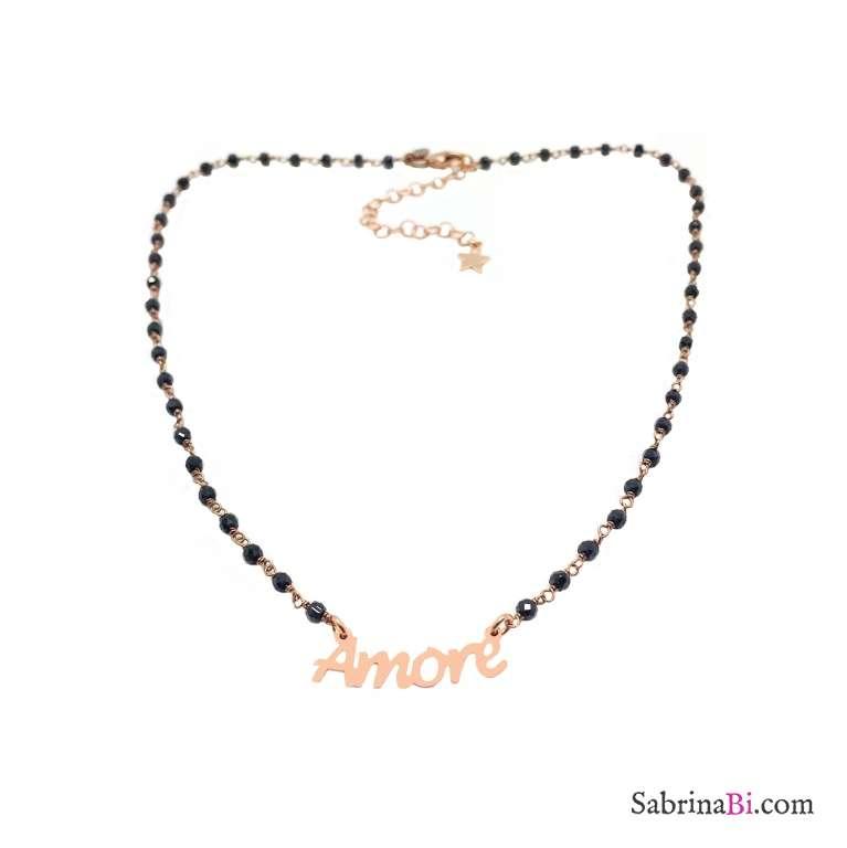 Collana argento 925 oro rosa rosario Spinelli neri Amore