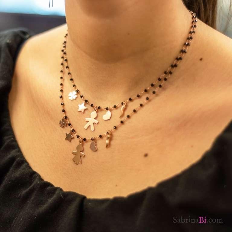 Collana argento 925 oro rosa rosario Spinelli neri Bambina e lucky charms