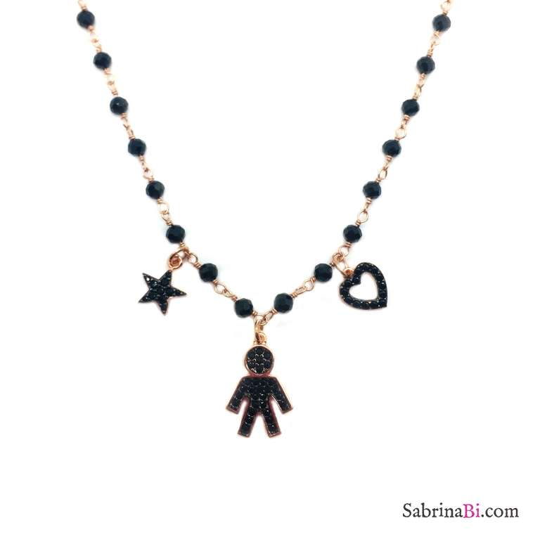 Collana argento 925 oro rosa rosario Spinelli neri Bebè Boy Zirconi neri