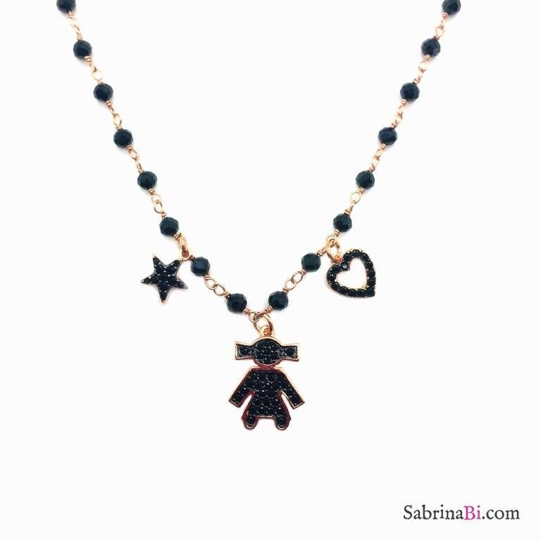 Collana argento 925 oro rosa rosario Spinelli neri Bebè Girl Zirconi neri
