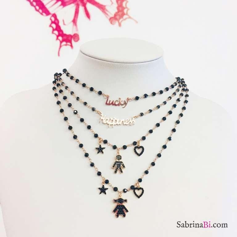 Collana argento 925 oro rosa rosario Spinelli neri Lucky