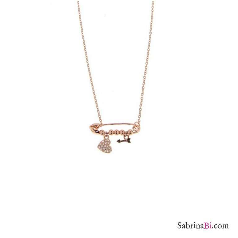 Collana argento 925 oro rosa spilla di sicurezza