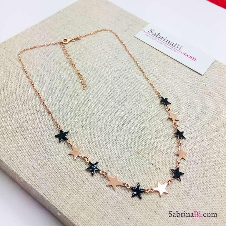 Collana argento 925 oro rosa Stelle oro rosa e smalto nero