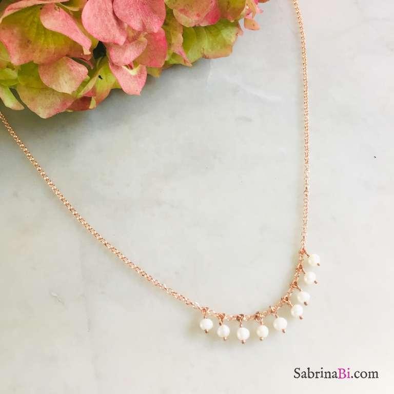 Collana argento 925 oro rosa Tessa