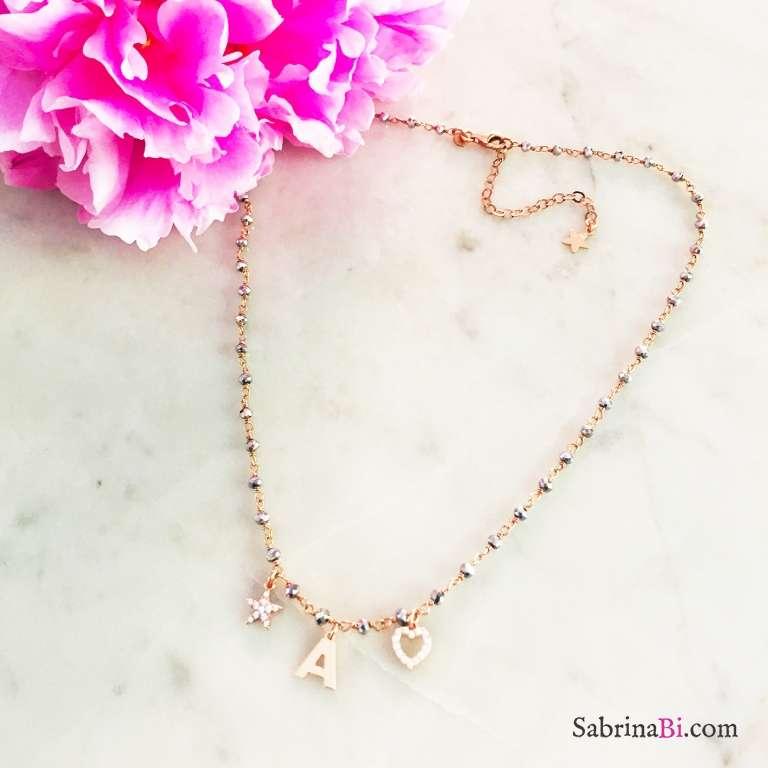 Collana argento 925 rosario Ematite oro rosa lettera e charms Zirconi