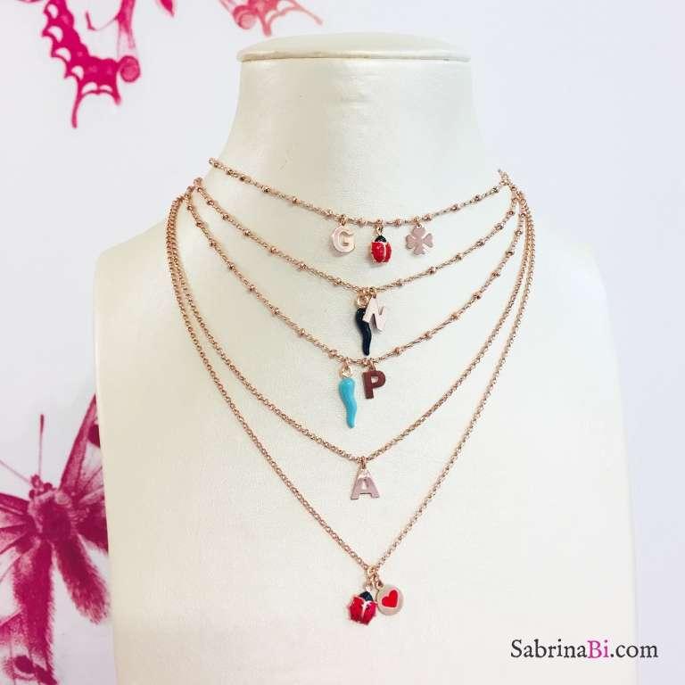 Collana argento 925 rosario oro rosa lettera iniziale nome e cornetto nero