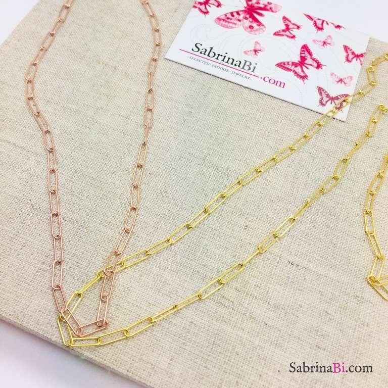 Collana catena graffetta piccola argento 925 oro rosa