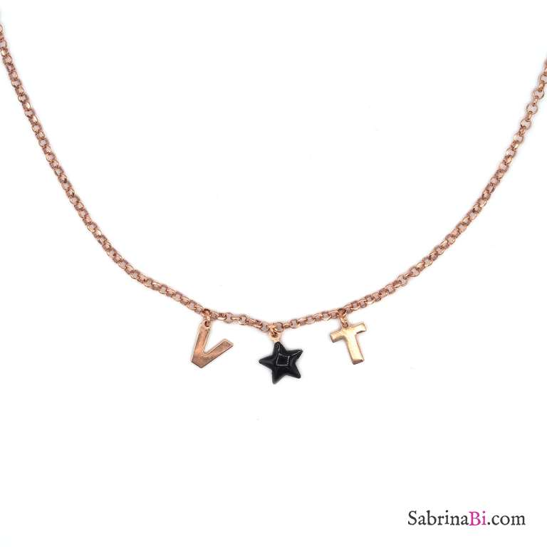 Collana choker argento 925 oro rosa 2 lettere personalizzate iniziali nome e stella nera