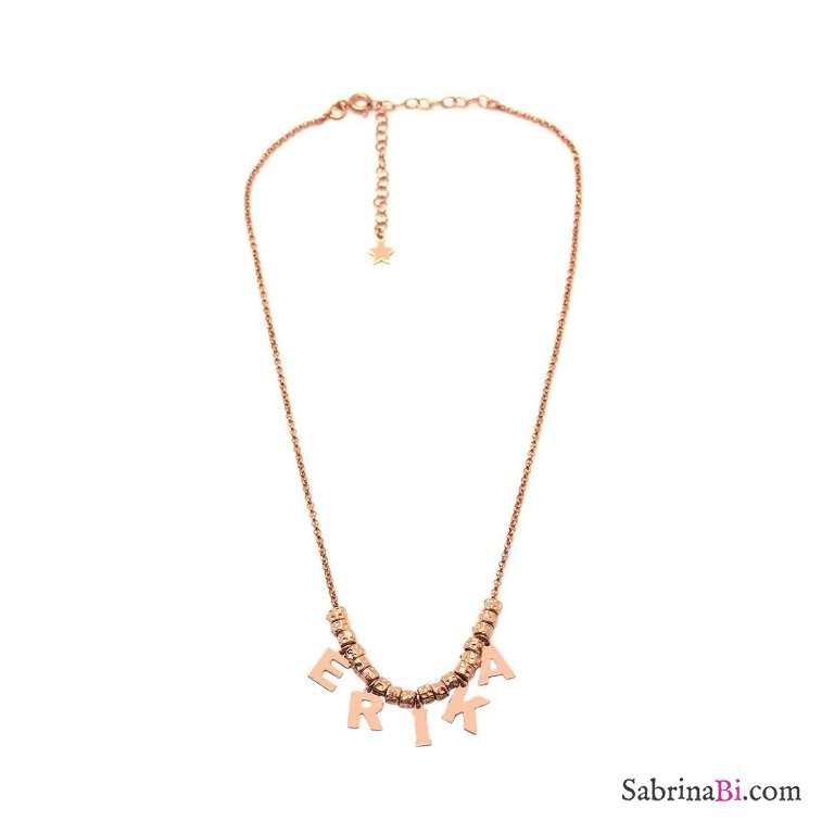 Collana choker argento 925 oro rosa 5 lettere nome con rondelle
