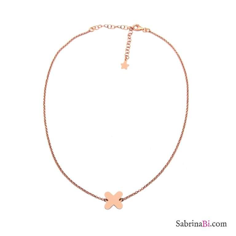 Collana choker argento 925 oro rosa Cerotto oro rosa