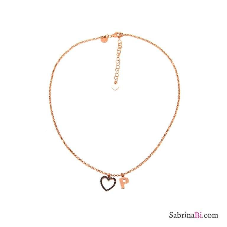 Collana choker argento 925 oro rosa lettera iniziale nome e cuore Zirconi neri