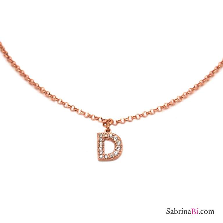 Collana choker argento 925 oro rosa lettera iniziale nome zirconi