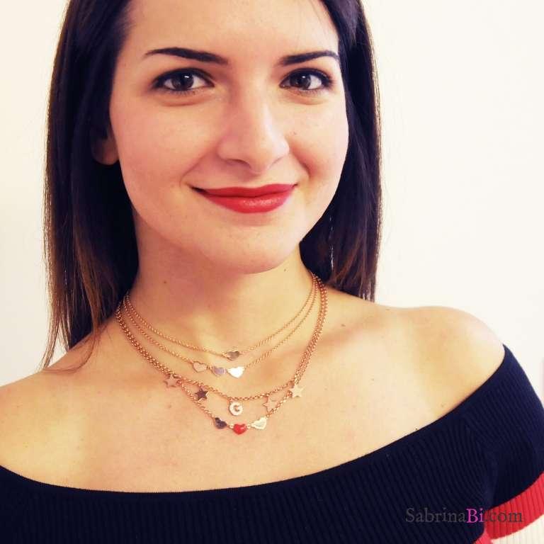 Collana choker argento 925 oro rosa lettera zirconi iniziale nome e stelle