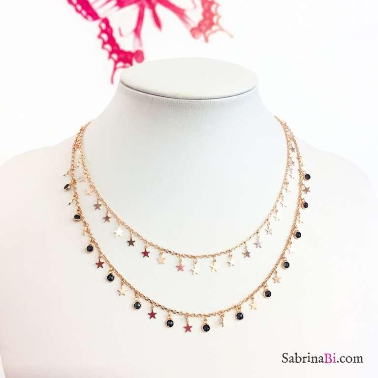 Collana choker argento 925 oro rosa micro stelle e Zirconi neri