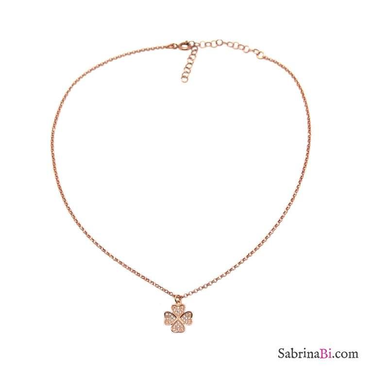 Collana choker argento 925 oro rosa Quadrifoglio grande Zirconi