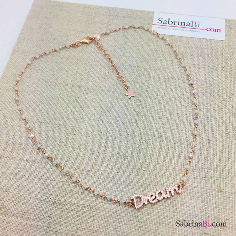 Collana choker argento 925 oro rosa rosario Pietra di luna Dream Zirconi