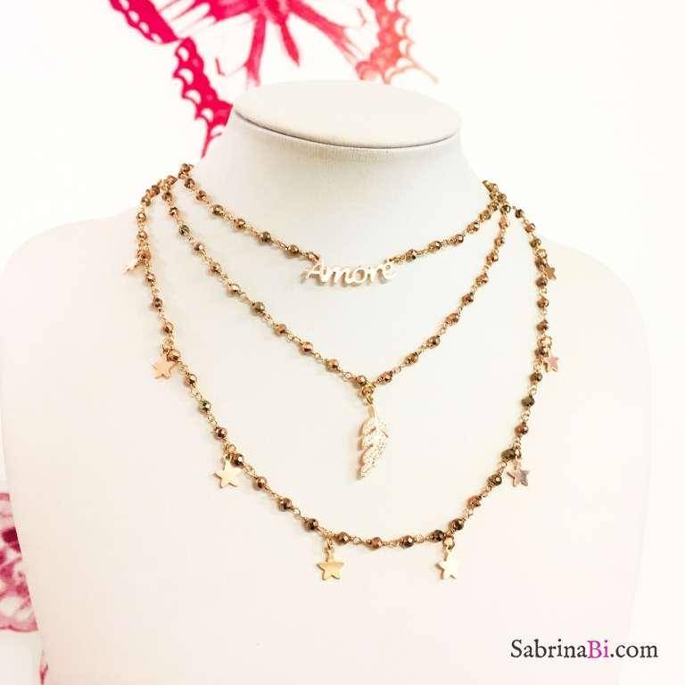 Collana choker argento 925 oro rosa rosario Pirite piuma Zirconi