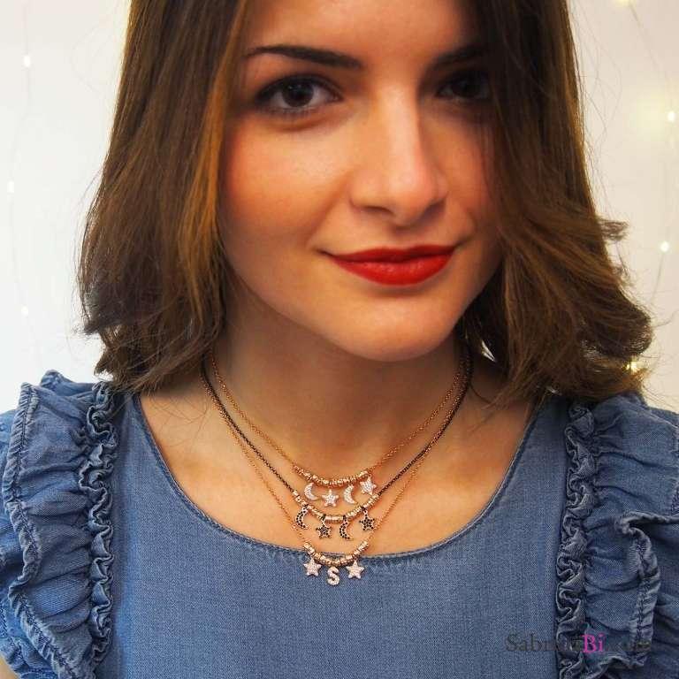 Collana choker argento 925 oro rosa Stelle e Lune Zirconi e rondelle