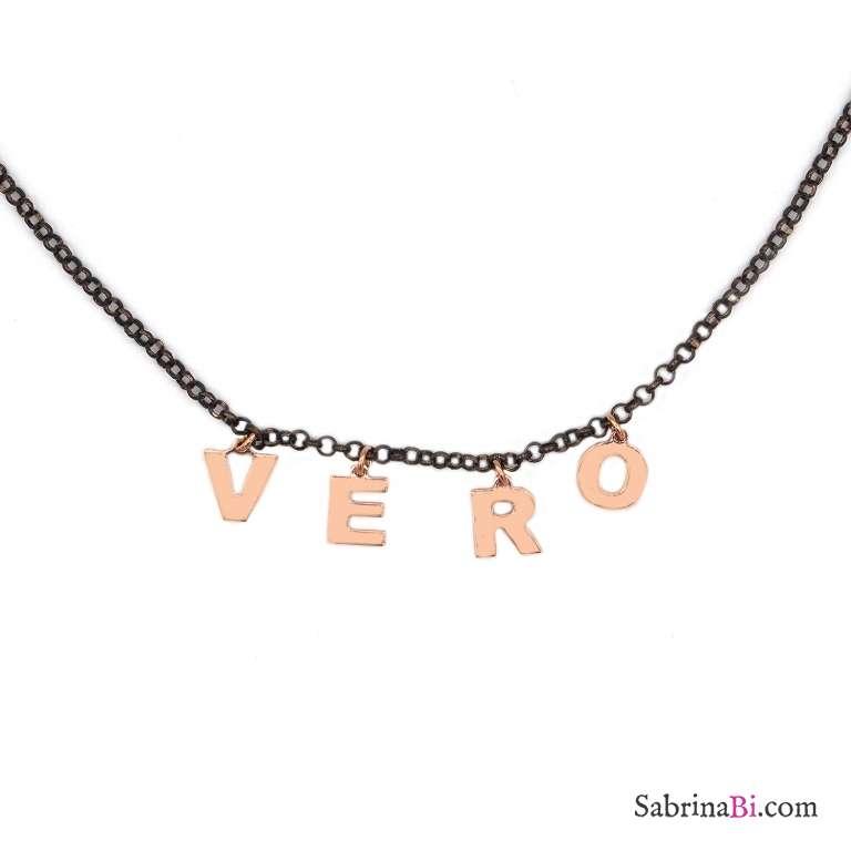 Collana choker argento 925 rodiato nero 4 lettere oro rosa nome personalizzato