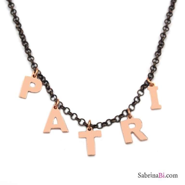 Collana choker argento 925 rodiato nero 5 lettere oro rosa nome personalizzato
