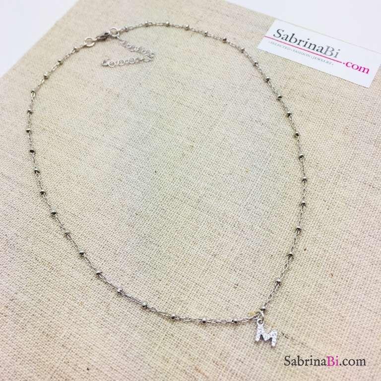 Collana choker argento 925 rosario lettera iniziale nome Zirconi
