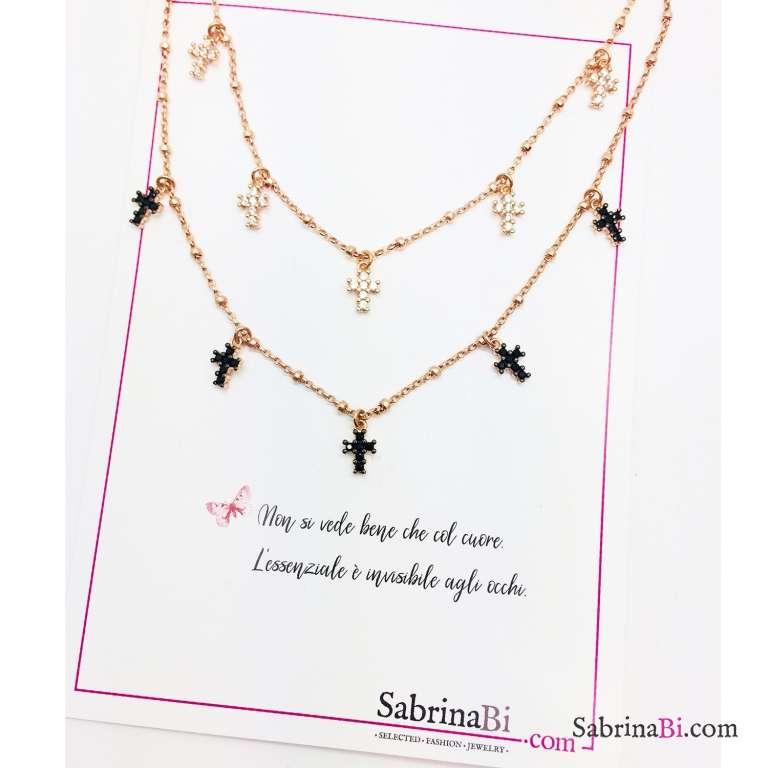 Collana choker argento 925 rosario oro rosa mini Croci Zirconi