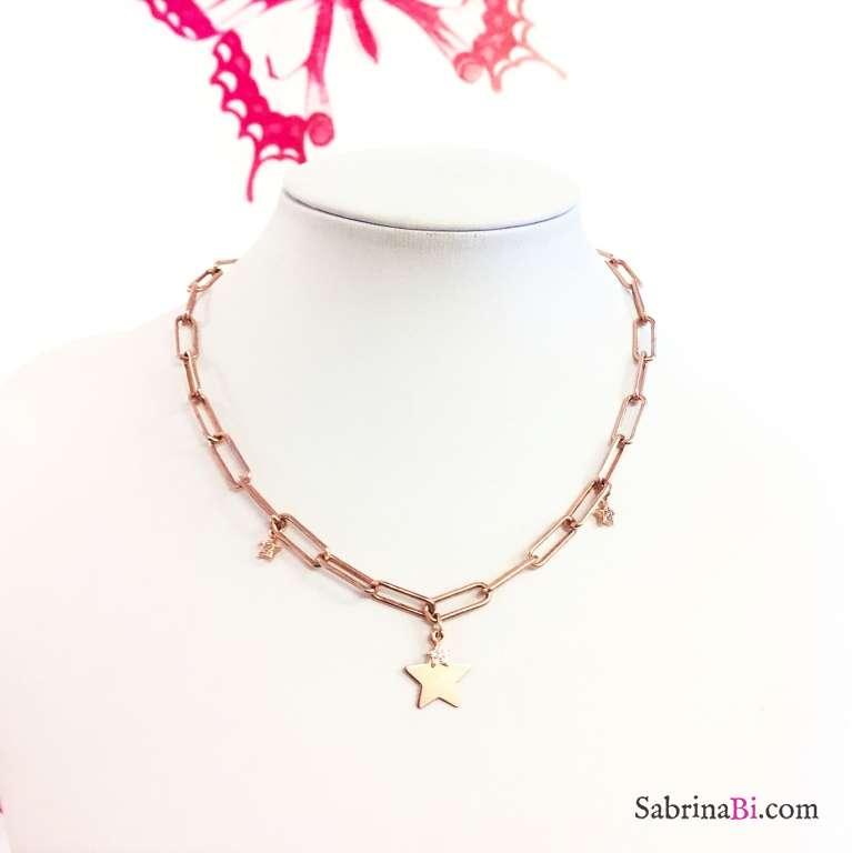 Collana choker catena graffetta grande argento 925 oro rosa 4 Stelle