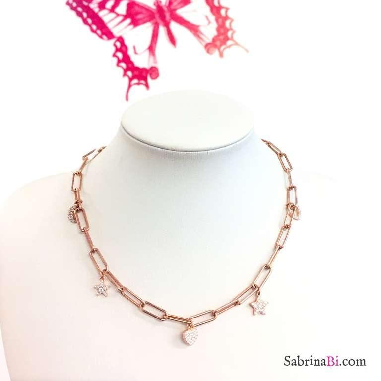 Collana choker catena graffetta grande argento 925 oro rosa 5 charms Zirconi