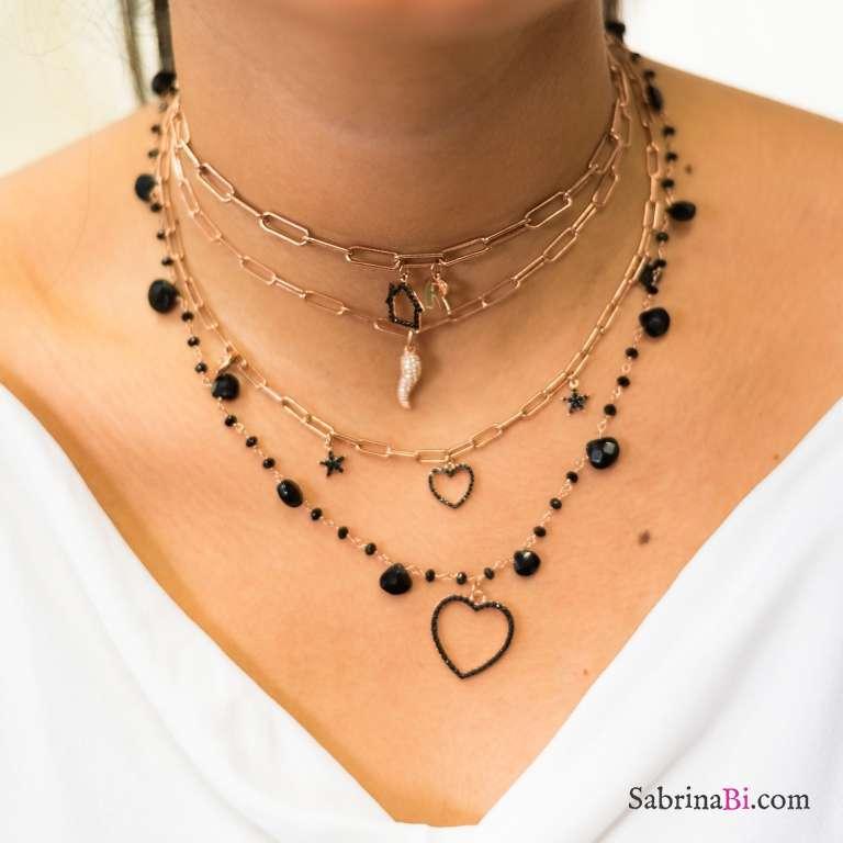 Collana choker catena graffetta piccola argento 925 oro rosa charms Zirconi neri