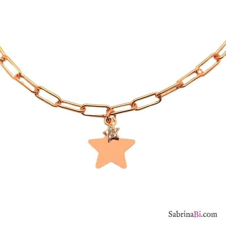 Collana choker catenella graffetta piccola argento 925 oro rosa Doppia Stella