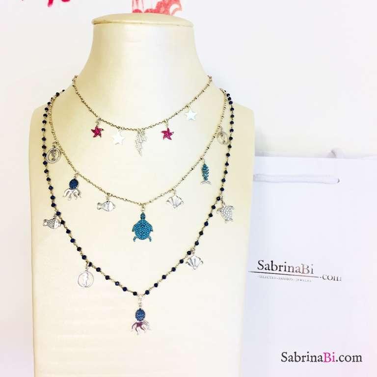 Collana choker girocollo rosario argento 925 7 charms