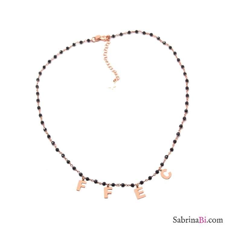 Collana choker girocollo rosario argento 925 oro rosa 4 lettere iniziali personalizzata