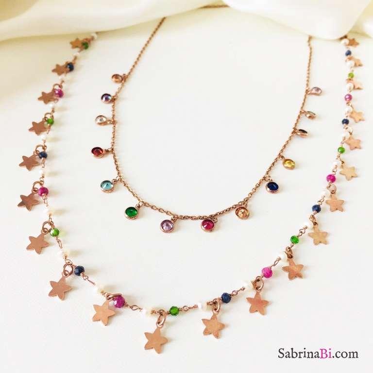 Collana choker girocollo rosario argento 925 oro rosa perle, pietre dure multicolor Tutto Stelle