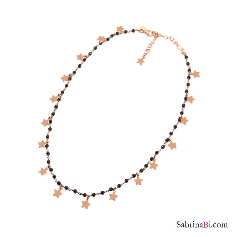 Collana choker girocollo rosario argento 925 oro rosa Spinelli neri Tutto Stelle