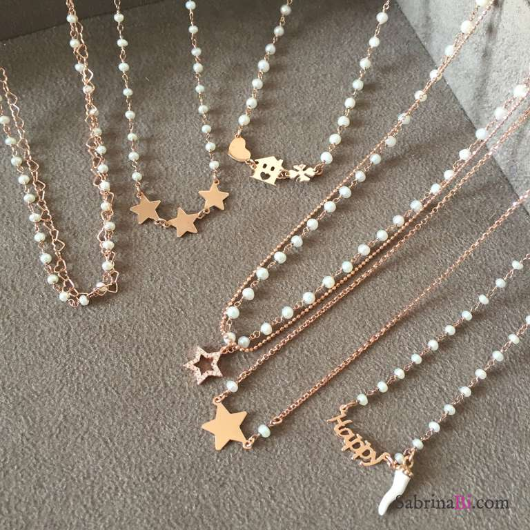 Collana choker Happy argento 925 oro rosa rosario perle