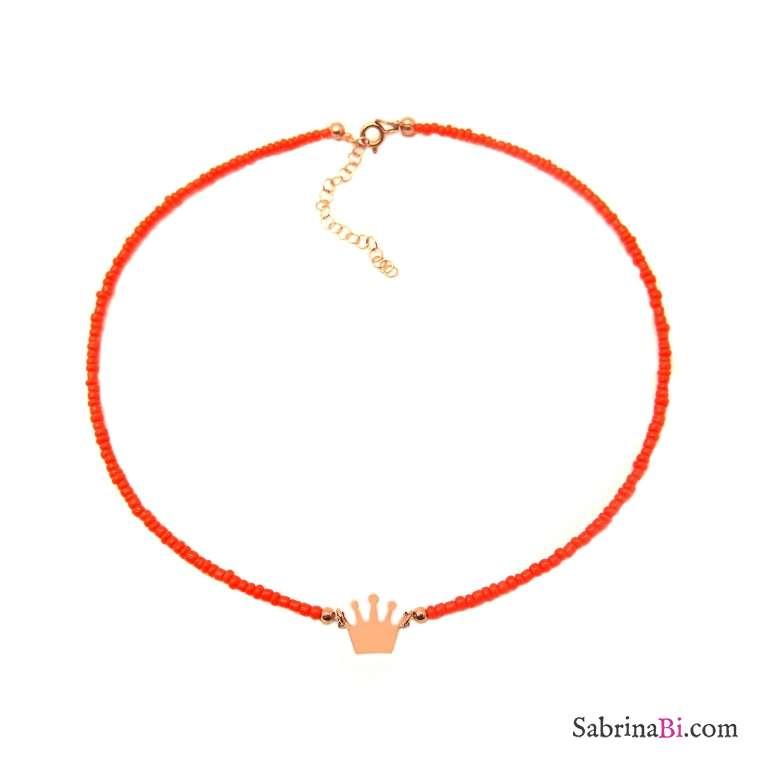Collana choker micro perline vetro arancioni Corona